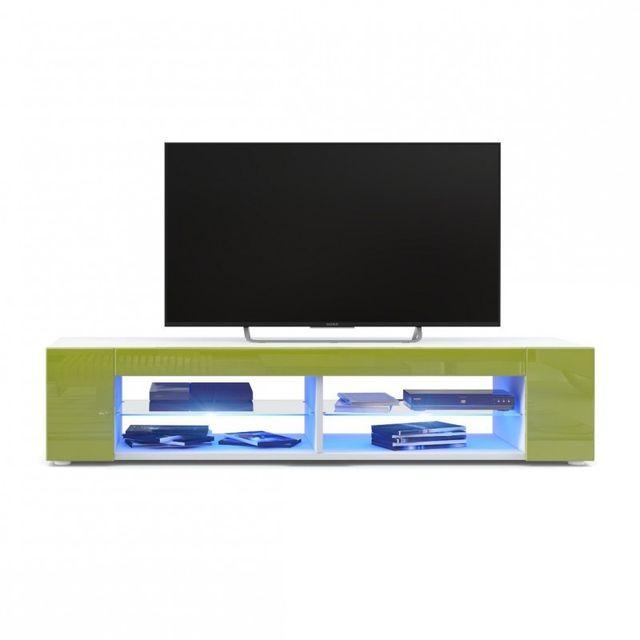 Mpc Meuble Tv blanc mat Façades en vert clair laquées led Bleu