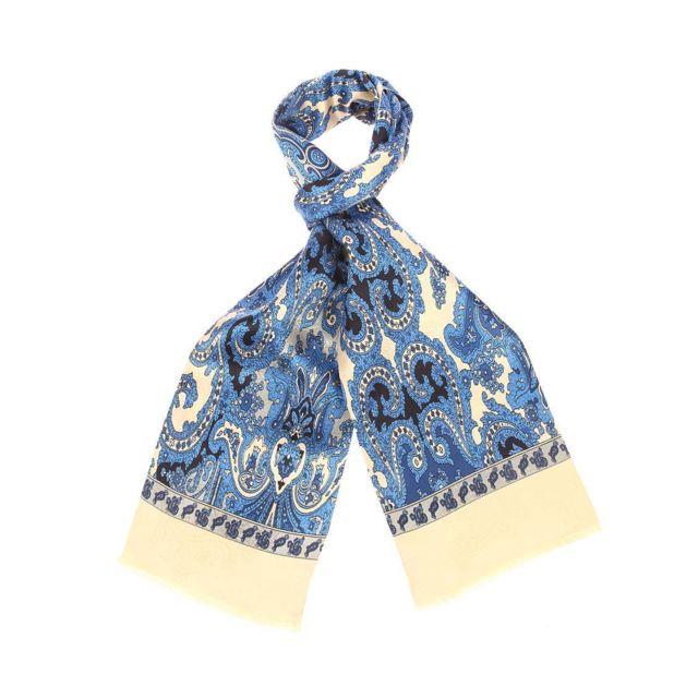 Touche Finale - Echarpe en soie dorée à motifs cachemires bleus - pas cher  Achat   Vente Echarpes - RueDuCommerce 18e92f18b08