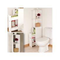 ProBache - Meuble Wc étagère bois gain de place pour toilettes 3 portes