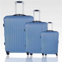 Travel Land - Lot de 3 valises légères et robustes Trolley coque rigide Abs 4 Roues 360 - Bleu