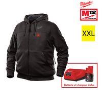 Milwaukee - Sweat chauffant noir M12 Hh Bl2-0 Taille Xxl 4933451615 - Batterie M12 2.0Ah et chargeur C12C 4933451900