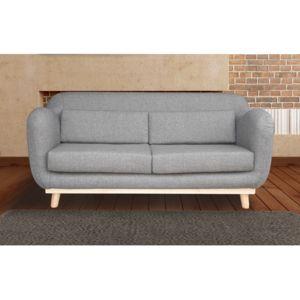Autre - Canapé 3 places fixes pieds bois en tissu - coloris gris souris 0cm x 0cm x 0cm