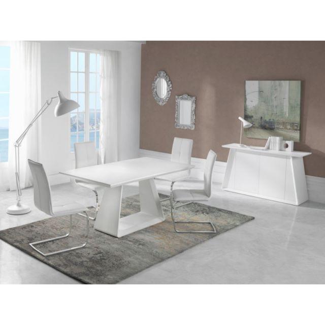 Ma Maison Mes Tendances Table à manger rectangulaire extensible 140-180cm en bois blanc mat Musca - L 140 x l 90 x H 76