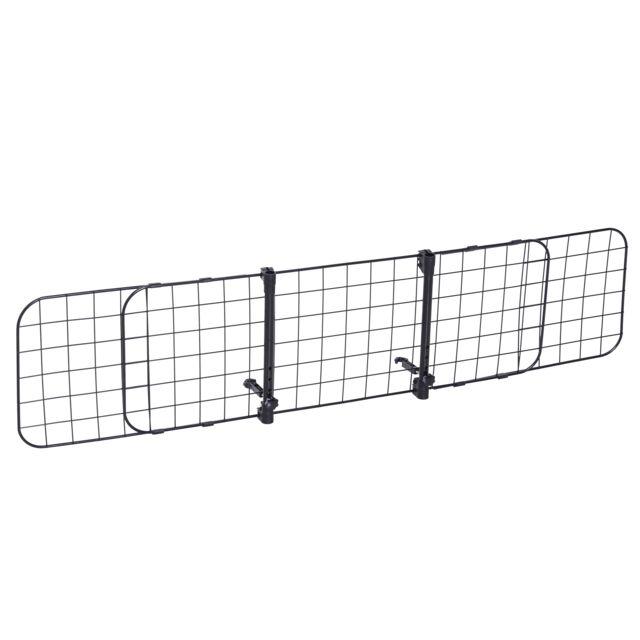 PAWHUT Barrière grille de séparation universelle voiture pour animaux longueur réglable dim. 91-145L x 30H cm kit complet insta