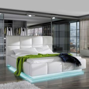 meubler design lit design alex avec sommier 140x200 blanc pas cher achat vente. Black Bedroom Furniture Sets. Home Design Ideas