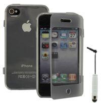 Vcomp - Housse Etui Coque silicone gel Portefeuille Livre rabat pour Apple iPhone 4/ 4S/ 4G + mini stylet - Transparent