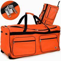 Rocambolesk - Superbe Grand sac de voyage Xxl trolley 160L avec 2 roulettes et cadenas neuf