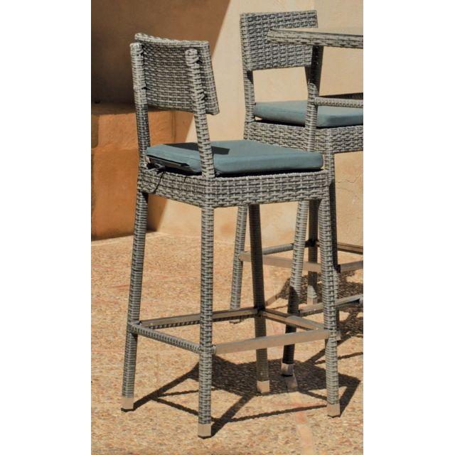 Hevea - Table haute de jardin carrée 75x75 cm + 4 tabourets ...