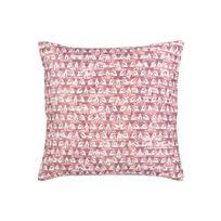 Winkler - Coussin déhoussable velours 100% coton motif feuille graphique rose 45x45cm Vilo