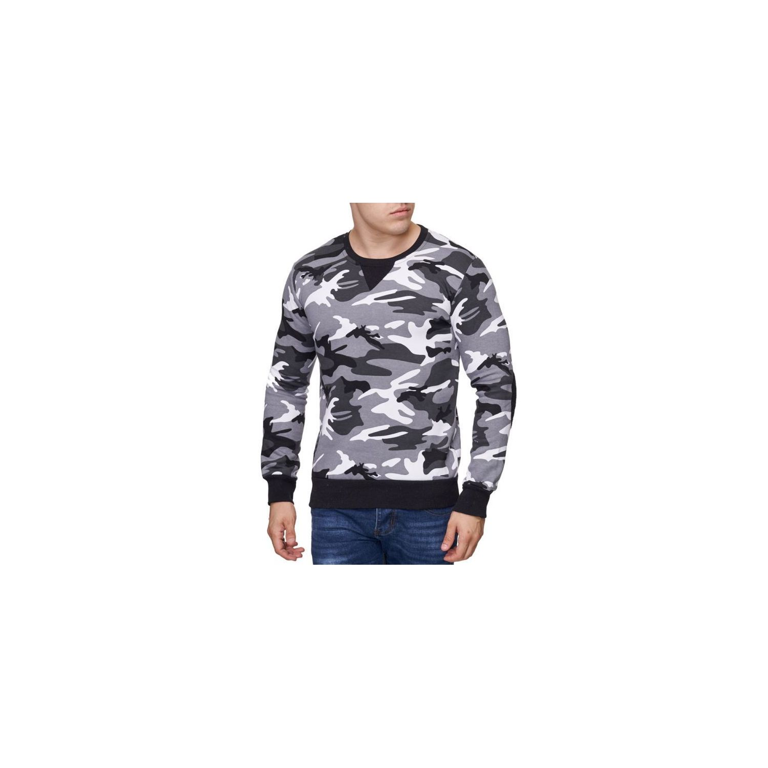 VIOLENTO- Pull camouflage homme gris