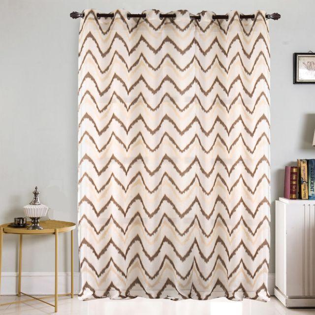 best interior voilage grande largeur zigzag chocolat dimensions 300x240 pas cher achat. Black Bedroom Furniture Sets. Home Design Ideas