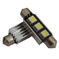 Autoled - 0009 - 1 ampoule navette Canbus Led C5/10W 12V 3 Smd5050 blanc long 42mm
