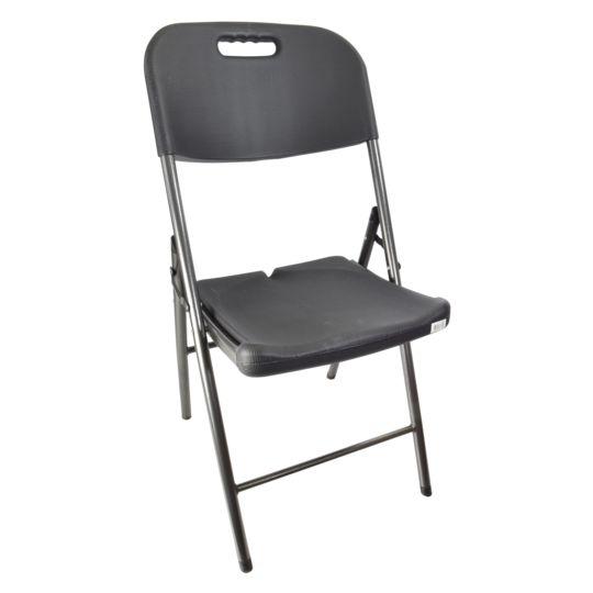 Chaise pliante style bois noir - L 48.5 x l 45 x H 83.8 cm - 962334