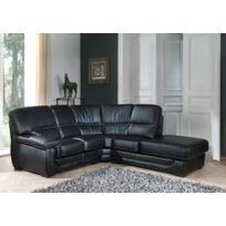 Modern Sofa - Canapé cuir angle droit noir