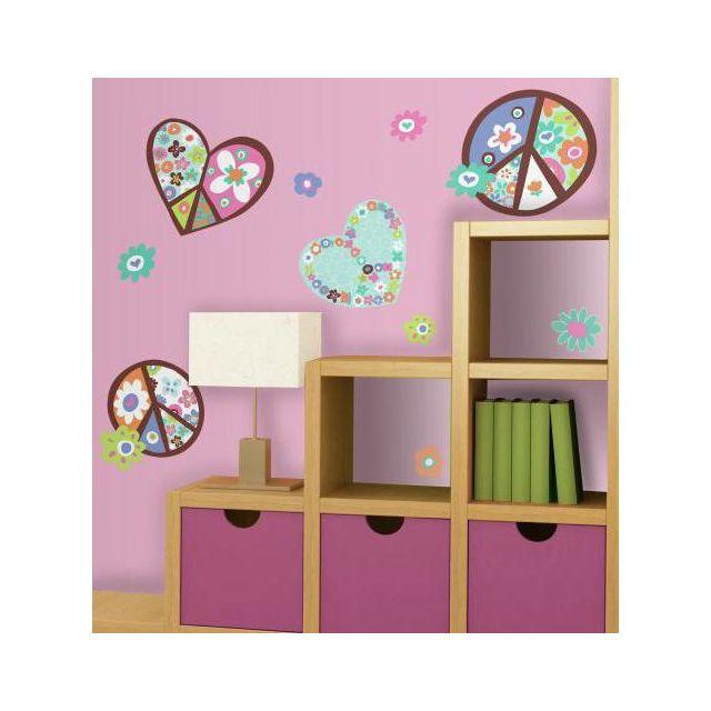 Mon Beau Tapis Stickers Signe Peace And Love Coeurs & Fleurs Géant Roommates Repositionnables 102x46cm