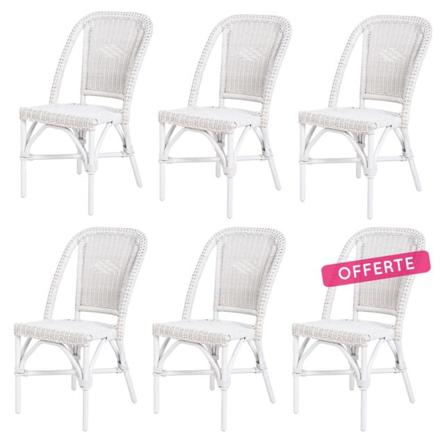 rotin design lot de 6 chaises selva blanche en fitrit pas cher achat vente chaises. Black Bedroom Furniture Sets. Home Design Ideas
