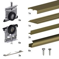 Slid'UP By Mantion - Kit Slid'UP 210 aluminium anodisé bronze pour 3 portes de placard coulissantes 16 mm - rail 2,7 m - 70 kg