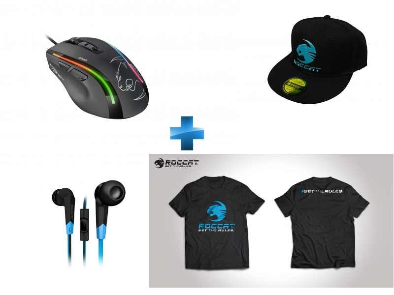 Souris Gaming Kone EMP RGB + Ecouteurs intra-auriculaires Syva + T-Shirt Taille M + Casquette