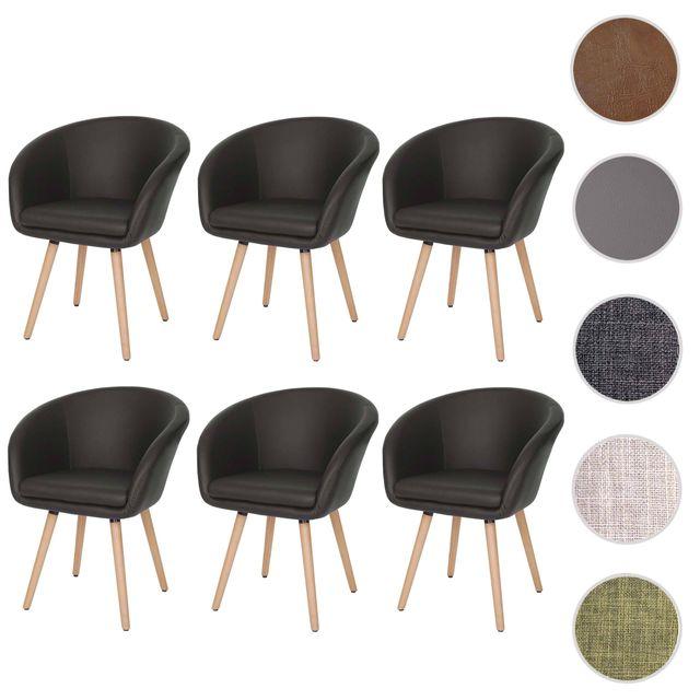 Mendler 6x chaise de salle à manger Malmö T633, fauteuil, design rétro des années 50 ~ similicuir, marron