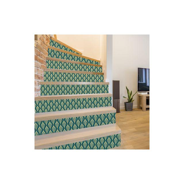 Adzif Biz Sticker Contremarche - Snake Vert- lot de 4 Stickers 1m x 17 cm