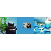 Promobo - Tableau Triptyque Zen avec 4 petits magnets Galets eau 30x90cm