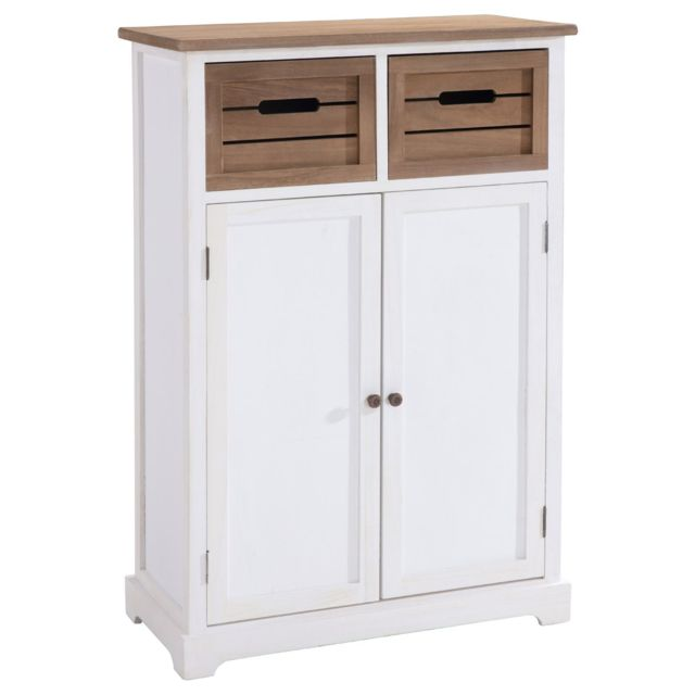 IDIMEX Buffet CORNELIA commode avec 2 caisses de rangement et 2 portes, en bois de paulownia blanc et brun style maison de camp