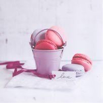 Atmosphera - Toile imprimée Macaron - 28 x 28 cm - Macaron seau