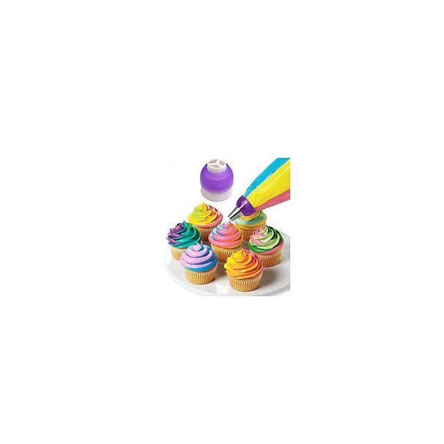 Alpexe Poche a douille triple pour cuisine et patisserie creative cup cake Livré avec 3 adaptateurs
