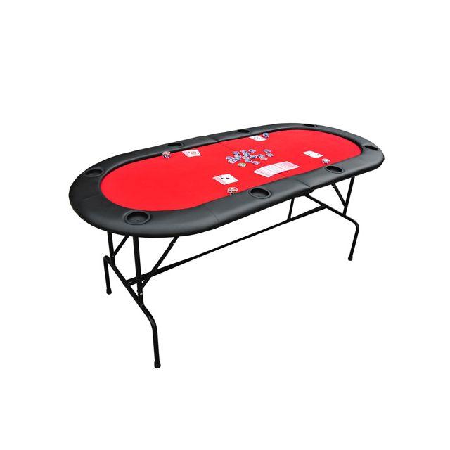 HOMCOM Table de poker casino ovale pliable sur pieds 8 joueurs max. rouge et noir