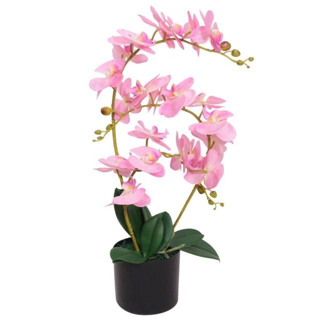 Vidaxl Plante artificielle avec pot Orchidée 65 cm Rose | Multicolore