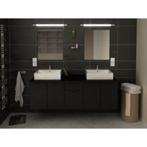 ma maison mes tendances meuble de salle de bain double vasque 150 cm noir liana l 150 x l 46. Black Bedroom Furniture Sets. Home Design Ideas