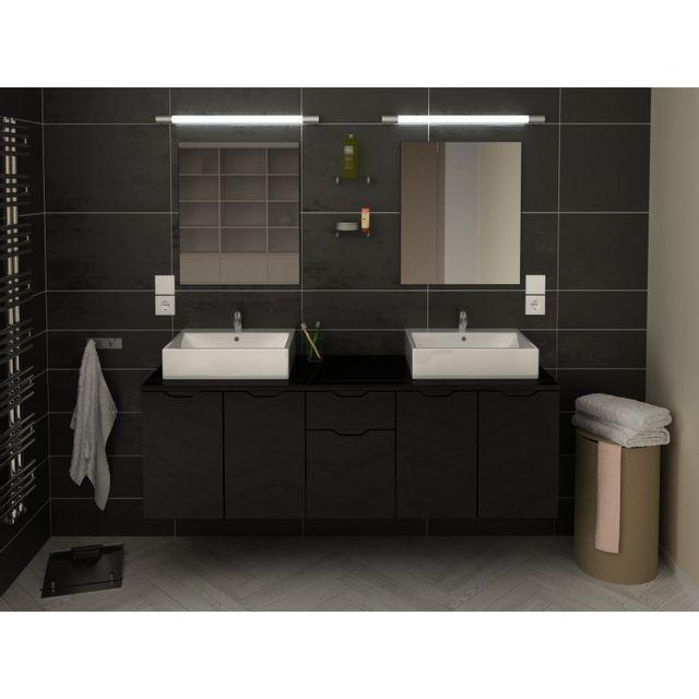 meuble salle de bain noir - achat meuble salle de bain noir pas