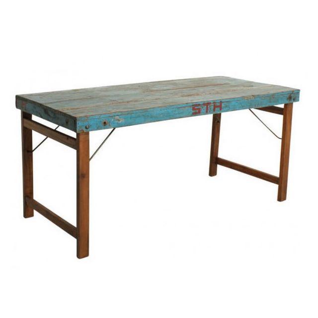 Mathi Design Vintage - Table bois bleu pliante