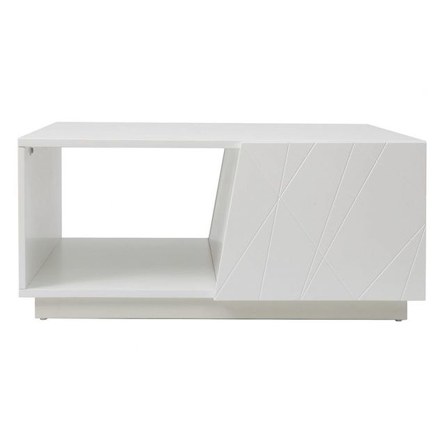 Miliboo table basse design laqu e blanc mat 90cm alessia for Table blanc mat