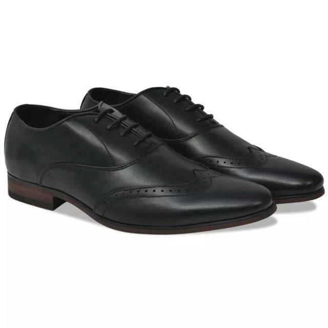 f41c17a80ada2 Vidaxl - VidaXL Chaussures à lacets pour hommes Noir Pointure 42 Cuir Pu