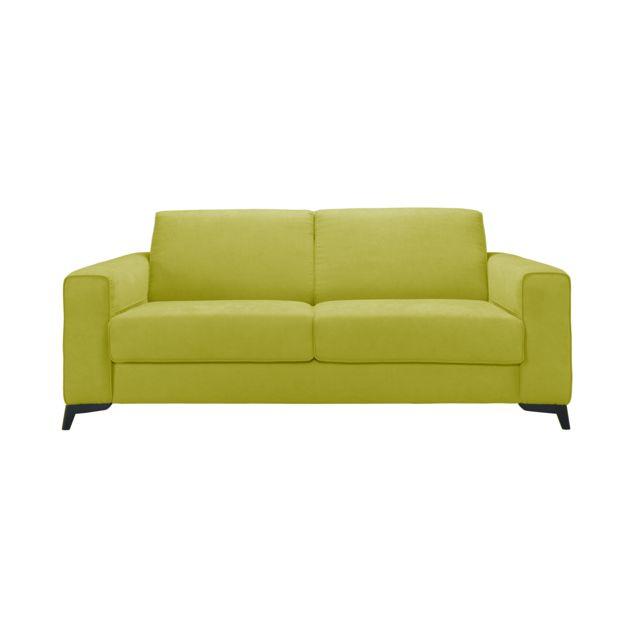 Mecazza Leeds Convertible 140X200 Mousse Densite 42KG + Visco Coloris Elisabeth Green Anti Tache