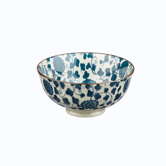 Pomax Bol en porcelaine motif floral liseret contrasté - Lot de 6 Sakura