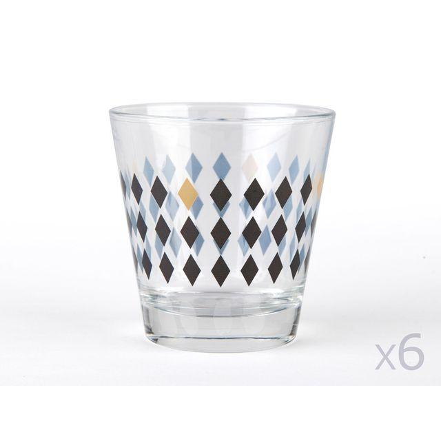 Kaligrafik Verres à eau motifs losange noir / cuivre - Lot de 6 pièces Sisko
