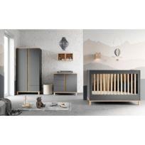 Chambre Complete Lit Bebe 60x120 Commode A Langer Armoire 2 Portes Altitude Gris