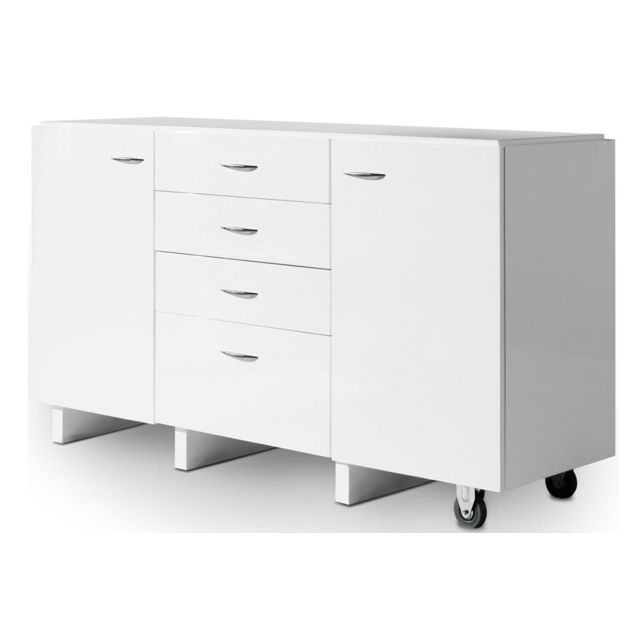COTE COSY Commode design extensible et modulable blanc laqué TIRAR