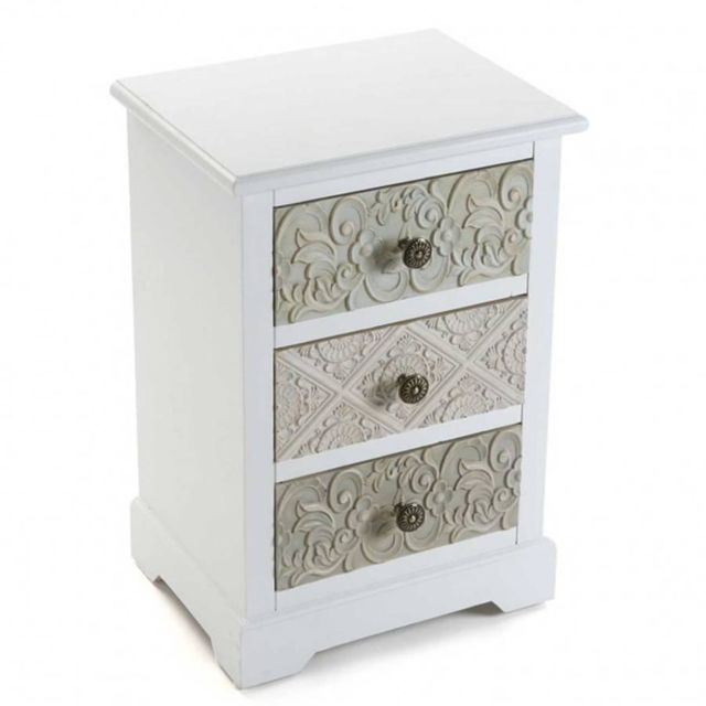 Inside 75 Commode blanche 3 tiroirs baroque Mosela
