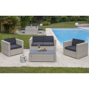 dcb garden salon de jardin en r sine tress e 4 places gris pas cher achat vente ensembles. Black Bedroom Furniture Sets. Home Design Ideas