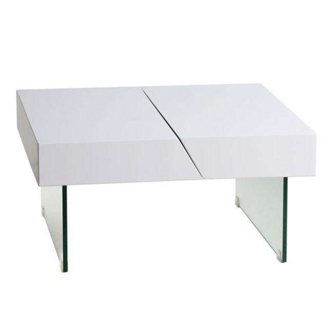 Tousmesmeubles Table basse extensible et pieds en Verre - Ingrid