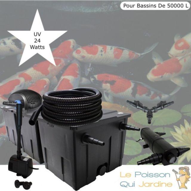 Le Poisson Qui Jardine Kit Filtration Complet, Uv 24W + Fontaine Pour Bassins De 50000 L