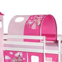 Tunnel Tente Pour Lit Surélevé Superposé Mi Hauteur Mezzanine Tissu Coton Motif Princesse Rose