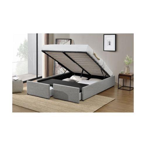 fournier decoration lagertha lit coffre 140x190 cm lin gris 2 tiroirs pas cher achat vente. Black Bedroom Furniture Sets. Home Design Ideas
