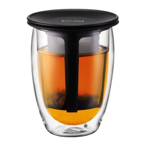 Set de verre double paroi 35cl avec infuseur individuel en nylon noir - Tea for one