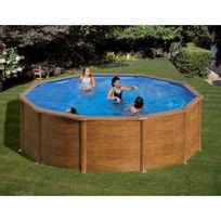gre pools kit piscine hors sol acier ronde sicilia aspect bois - Dimension Piscine Hors Sol