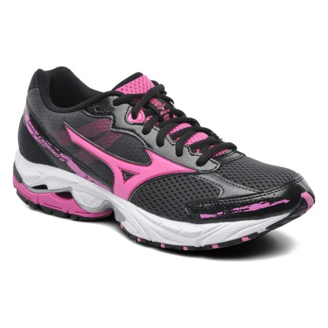 online store ce72b 4ffd7 Mizuno - Mizuno Wave Legend 2 Noire Et Rose Chaussures de running femme