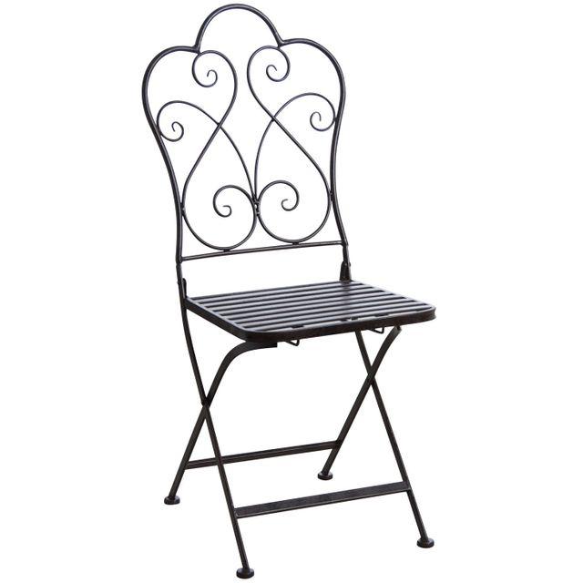 AUBRY GASPARD Chaise de terrasse pliante marron